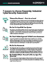 7 reasons to choose Kaspersky Industrial Cybersecurity Assessment